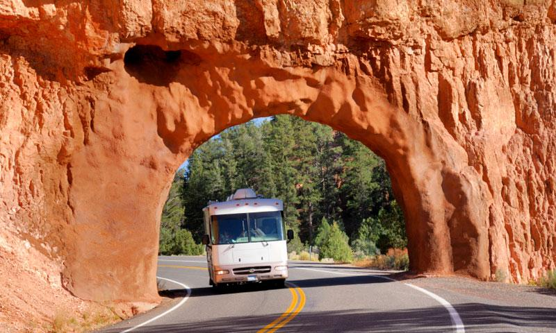 Driving through the arch on Highway 12 near Bryce Canyon